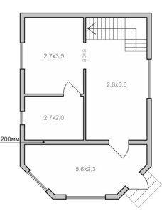 Проектная планировка дачного домика с эркером в Пензе Каркас-58 под ключ