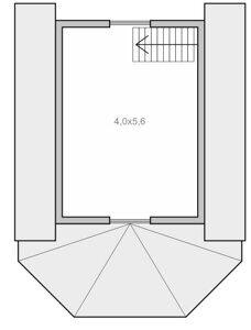 Планировка мансардного этажа каркасного дачного домика с эркером Каркас-58 Пенза