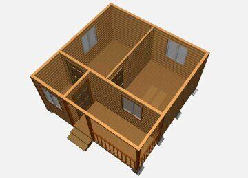 Проект каркасно-щитового одноэтажного домика с верандой 5 на 5 метров