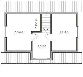 Планировка мансарды с мезонином дома 6х8
