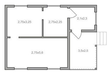 Проект дачного дома с мансардой и верандой, планировка комнат 1 этажа Пенза
