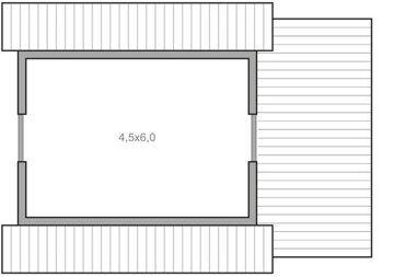 Каркас-58 Пенза, постройка дачи с мансардой и верандой, планировка мансардного этажа