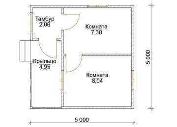 Планировка дачного домика 5 на 5 метров из бруса