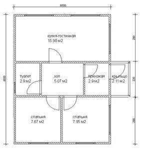 Планировка по проекту одноэтажного каркасного летнего дома 6 на 8 метров